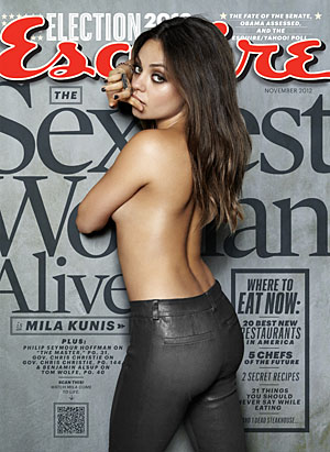 Mila Kunis on the cover of Esquire. (Cliff Watts/Esquire)