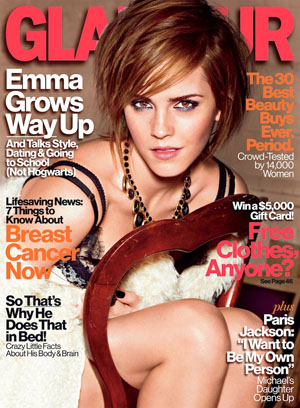 Emma Watson on the cover of Glamour's October issue (Alexei Hay/Glamour)