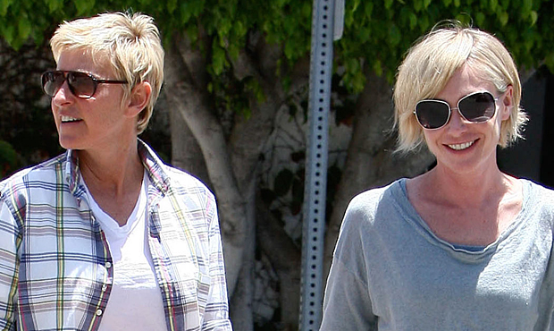 DeGeneres and de Rossi in West Hollywood (Splash News)