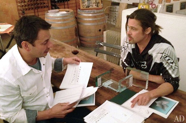 Brad Pitt and collaborator Frank Pollaro at work. (Pollaro Custom Furniture)