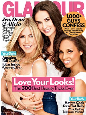 Jennifer Aniston, Demi Moore and Alicia Keys teamed up to talk to Glamour magazine recently. - Alexei Hay/Glamour