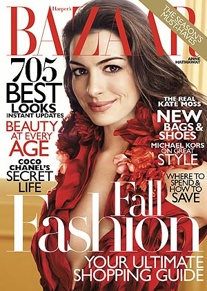 Anne Hathaway graces the cover of the August issue of Harper's Bazaar . - Alexi Lubomirski