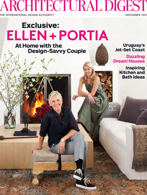 Ellen DeGeneres and Portia de Rossi opened their Beverly Hills home to Architectural Digest for the magazine's November issue. - Roger Davies