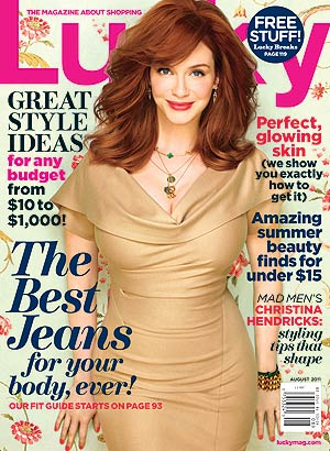 Christina Hendricks sports a Donna Karen New York dress on the August issue of Lucky . - Ruven Afanador/Lucky