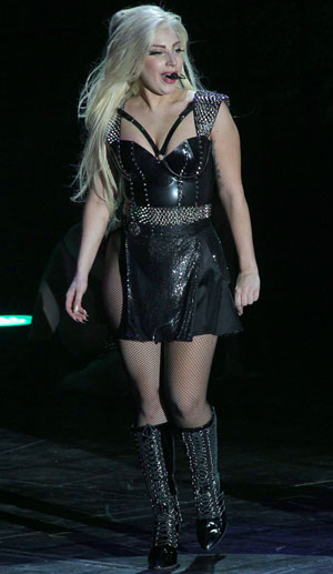 Gaga, wearing one of her more conservative outfits, in Amsterdam (Greg Sirc /Splash News)