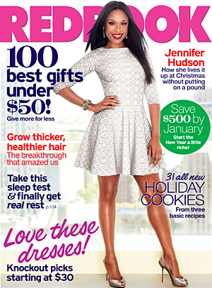 Jennifer Hudson on the cover of the December issue. (Ruven Afanador/Redbook)