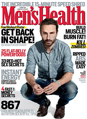 Andrew Lincoln on the cover of the October issue. (Ture Lillegraven/Men's Health)