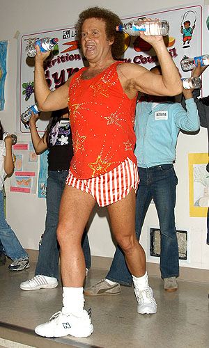 Richard Simmons doing what he does best. Stephen Shugerman/Getty Images