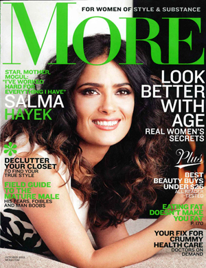 Salma Hayek on the cover of More's October issue.