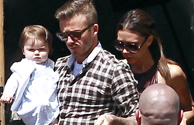 The Beckhams all celebrated at lunch in Beverly Hills. (Campos/X17online.com)