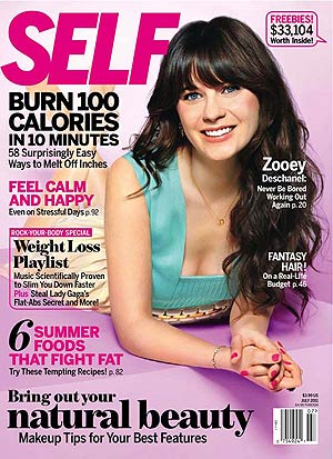 Zooey Deschanel shows off her sunny disposition on the cover of Self magazine. - Pamela Hanson
