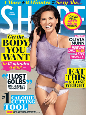 Olivia Munn shows off her figure on the cover of Shape magazine's October issue. - Shape