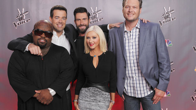 Aguilera, in another toned-down look, with 'The Voice' gang on July 17. (Trae Patton, NBC)