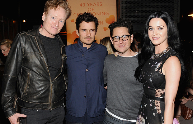 Conan O'Brien, Orlando Bloom, JJ Abrams and Katy Perry (Getty Images)