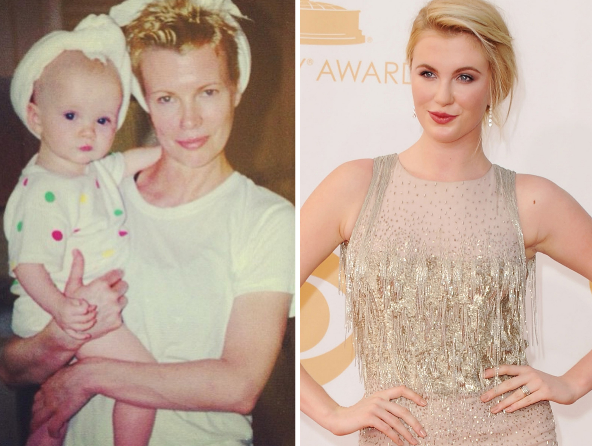 Ireland Baldwin hugs mom Kim Basinger as a baby and hits the Emmys red carpet as a teen. (Instagram/Getty Images)