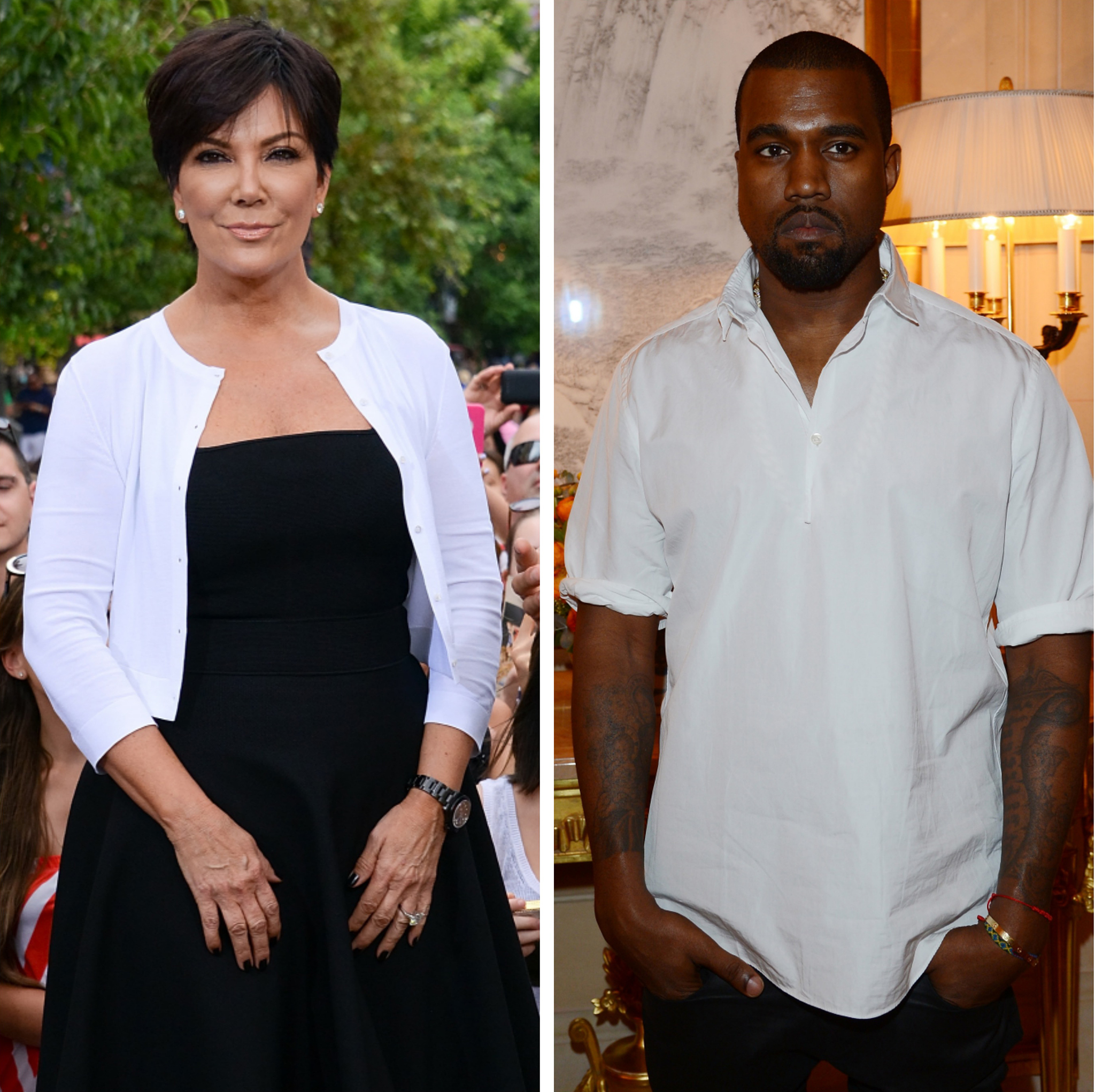 Kris Jenner sits down with Kanye West. (Getty Images)