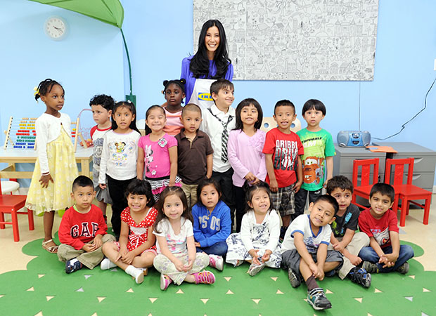 IKEA Ambassador Lisa Ling with kids benefiting from the IKEA Life Improvement Project with Save the Children. (IKEA)