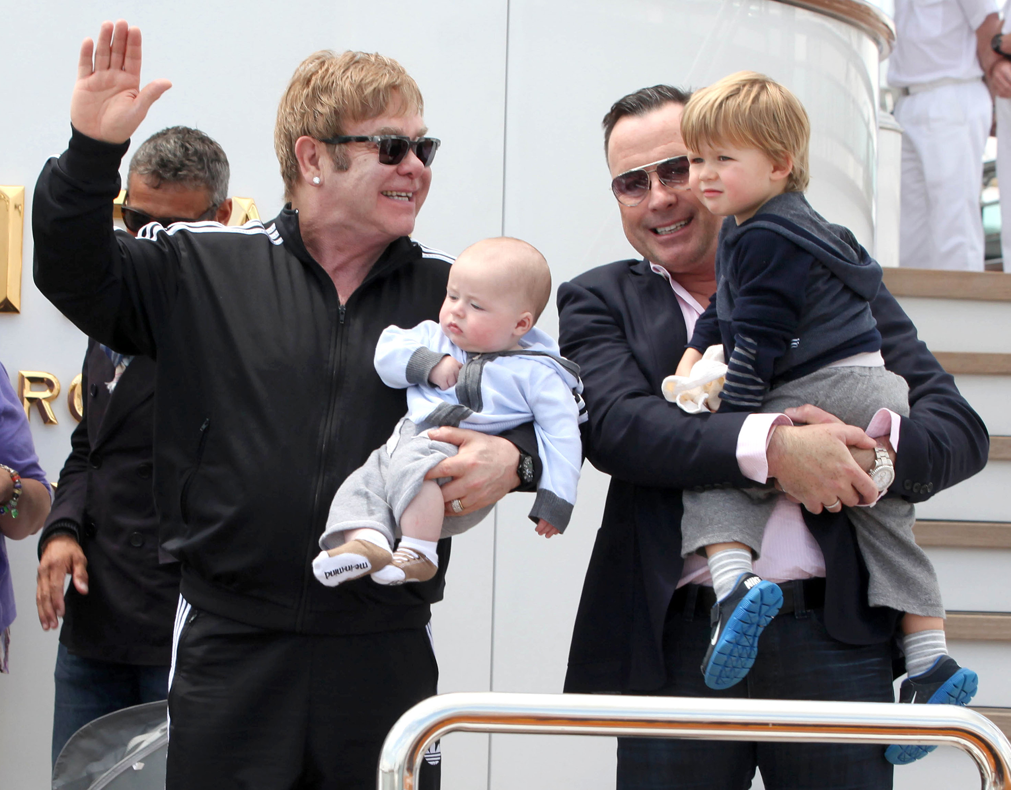 Elton John, David Furnish and their sons (FameFlynet)