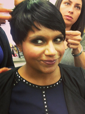 Kaling, in a wig, for 'The Mindy Project' season finale. (Twitter)