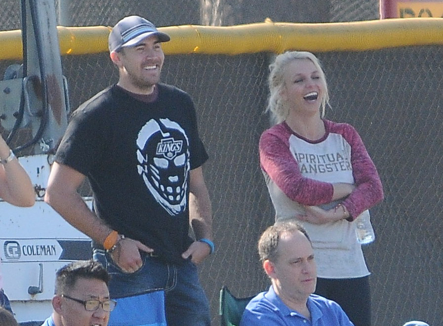 Britney and David watching her sons play soccer earlier this month. (FilmMagic)