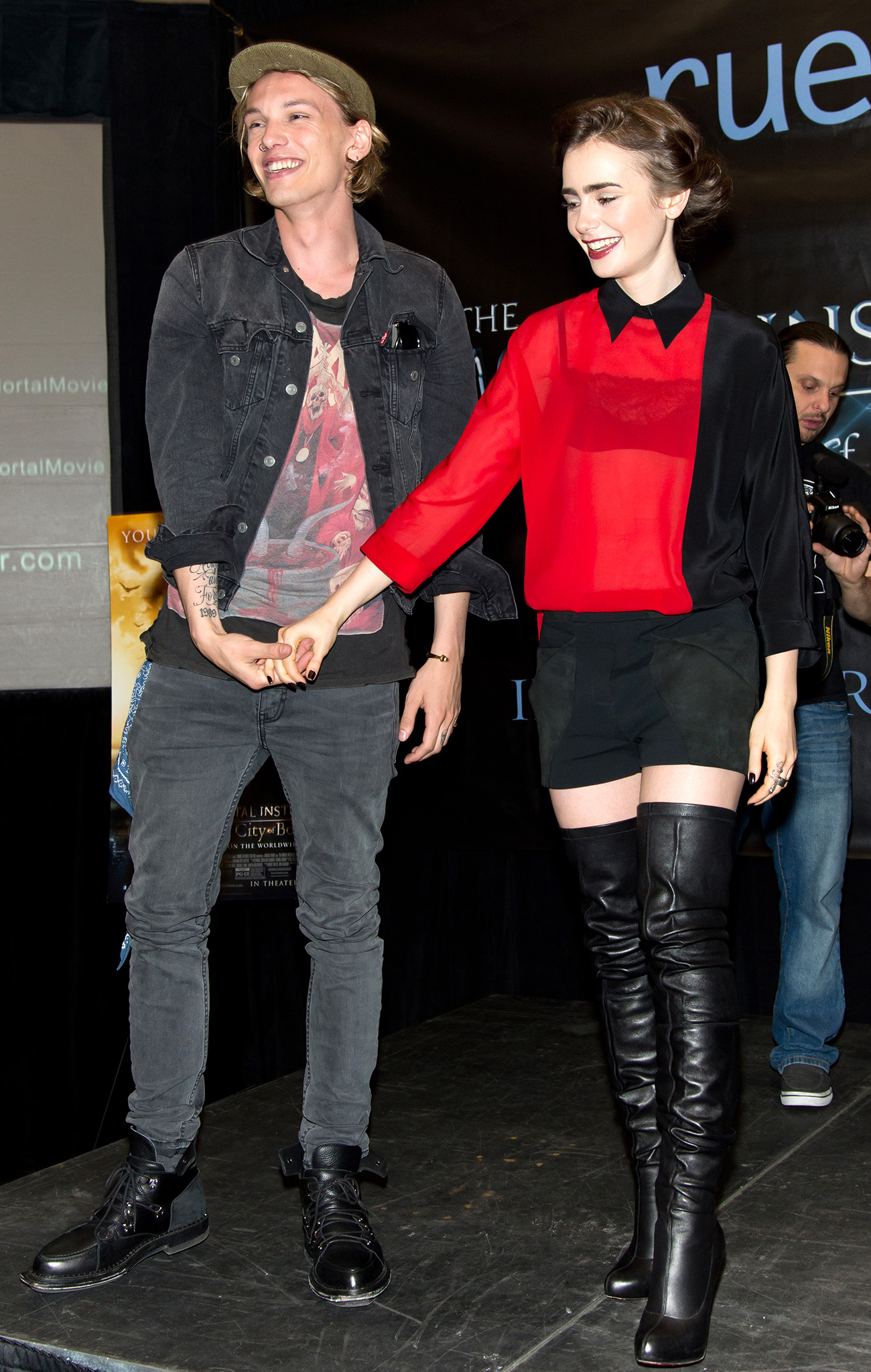 Lily Collins and Jamie Campbell Bower promote 'The Mortal Instruments' (Gilbert Carrasquillo/FilmMagic)