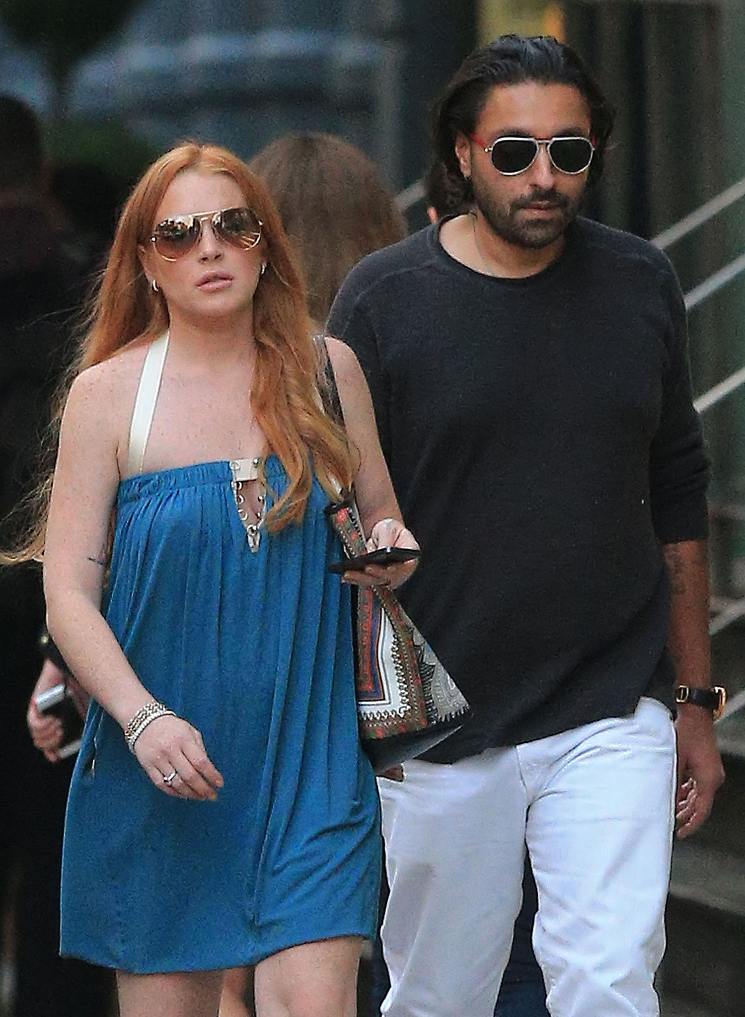 Lindsay Lohan and Vikram Chatwal take a stroll on 8/20/13 (Splash News)