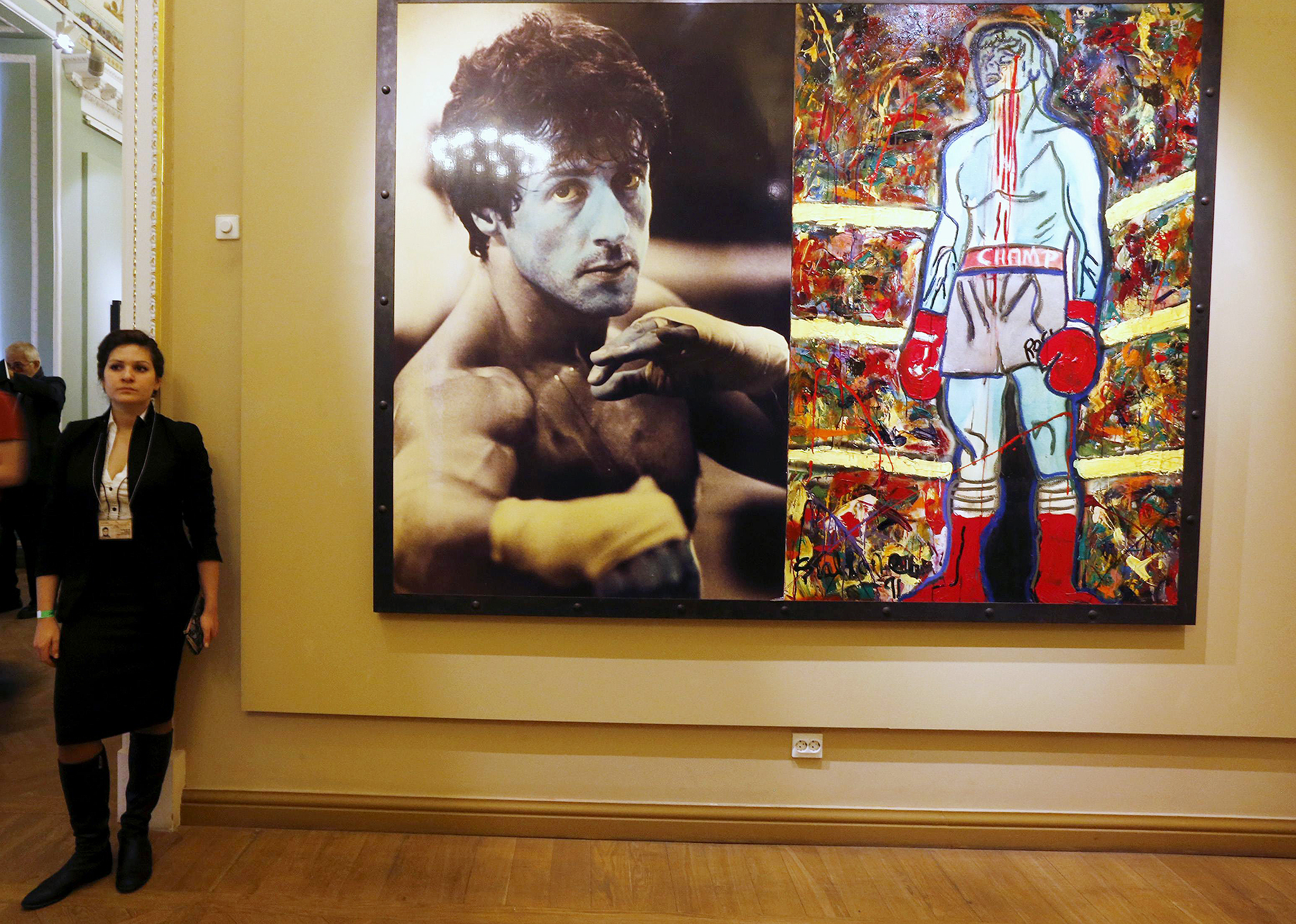 More of Stallone's artwork on display. (Reuters)