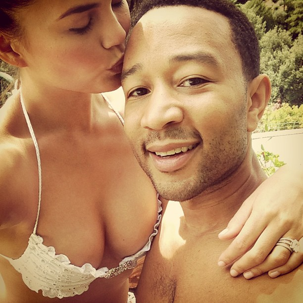 Chrissy Teigen and John Legend embrace. (Instagram)