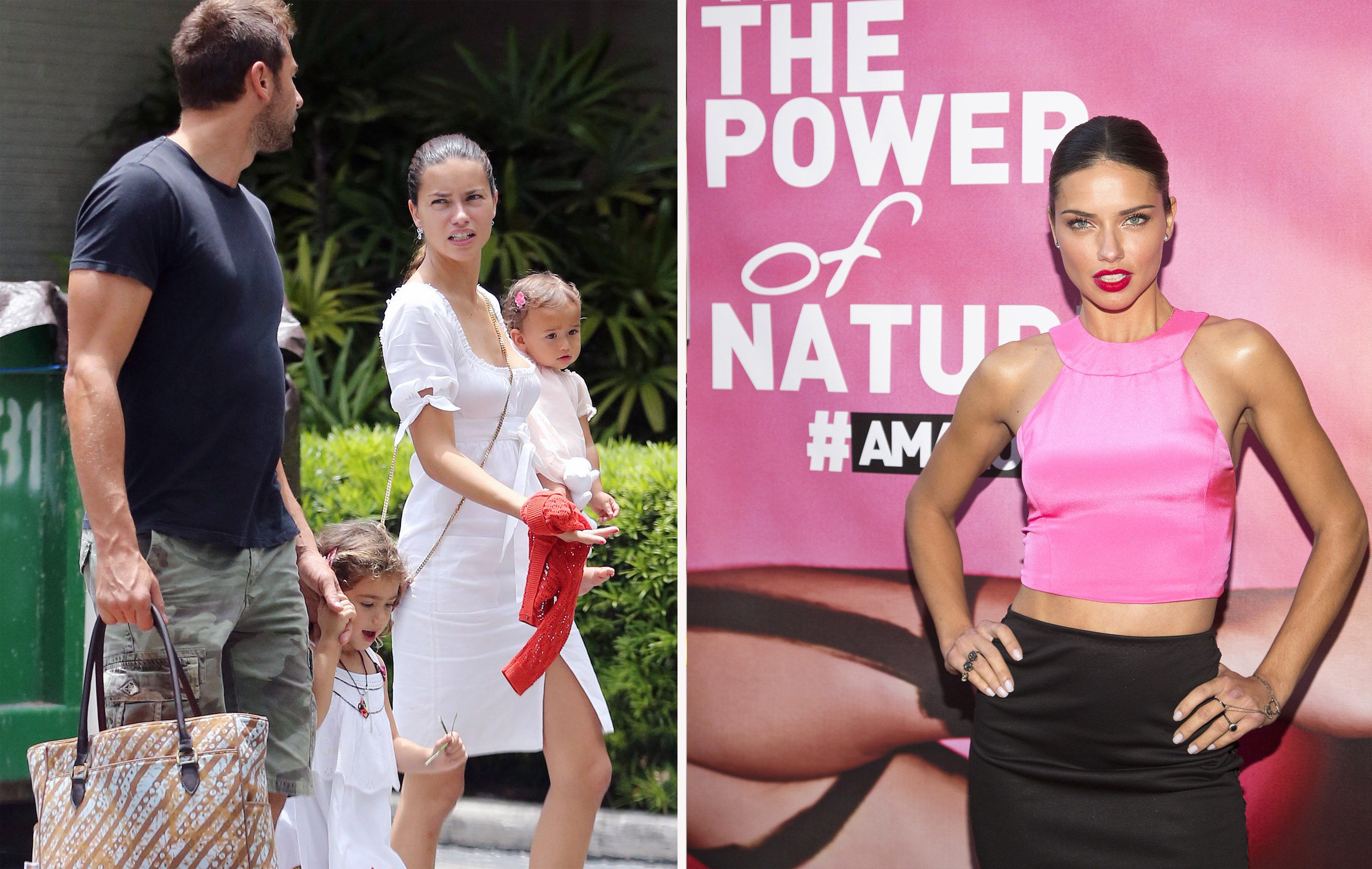 Adriana Lima with her kids; The model mom stays hydrated with Amazon Water.
