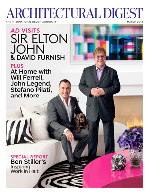Elton John and David Furnish at their Beverly Hills home. (Roger Davies/Architectural Digest)