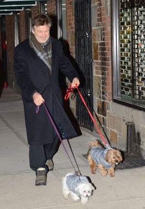 Alec Baldwin outside his NYC apartment building on February 19 (Getty Images)