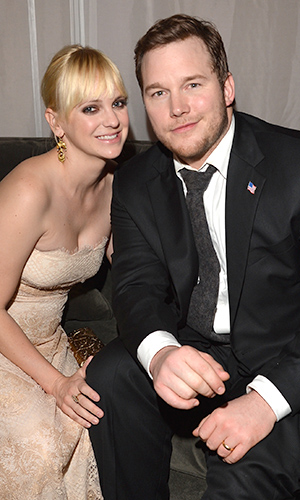 Anna Farris and Chris Pratt. (Lester Cohen/WireImage)