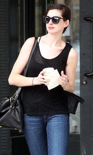 Anne Hathaway on Tuesday. (Splash News)
