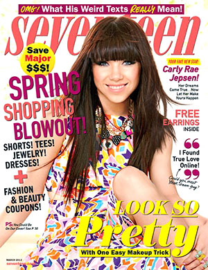 Carly Rae Jepsen on the cover of the March issue. Kenneth Willardt/Seventeen