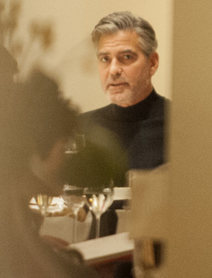 George Clooney out to dinner in Berlin this month (Splash News)
