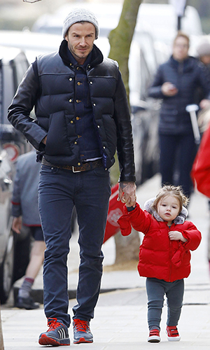 David Beckham and Harper. (FameFlynetUK/FAMEFLYNET PICTURES)
