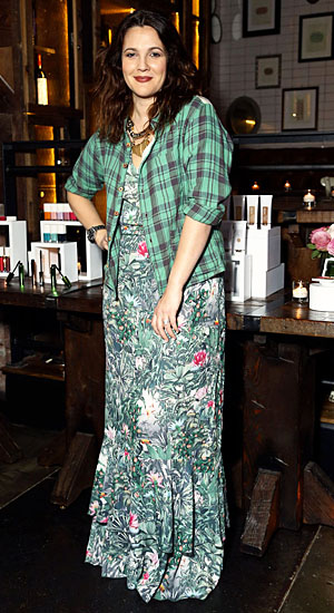 New mom Drew Barrymore (Flower Cosmetics)