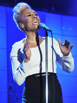 Emeli performing at Clive Davis' pre-Grammy party on February 9. (Lester Cohen/WireImage)