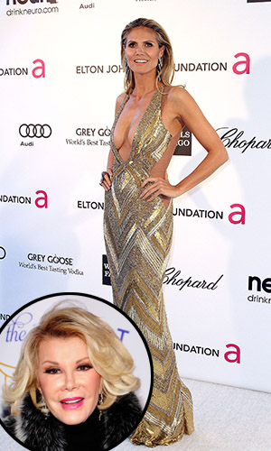 Heidi Klum at Elton John's 2013 Oscar party, Joan Rivers [inset] (Maury Phillips/Desiree Navarro/WireImage)