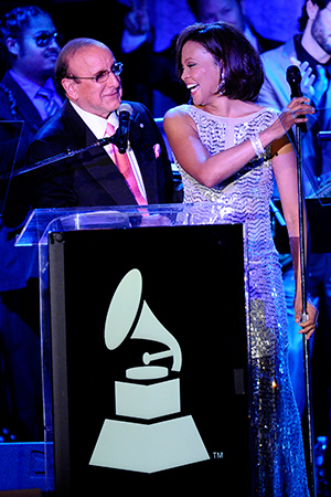 Whitney Houston and Clive Davis at the 2011 pre-Grammys party (Getty Images)