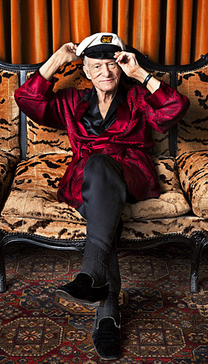 Hef is interviewed in the April issue (Peter Yang/Esquire)