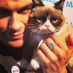 Ian Somerhalder and Tard the Grumpy Cat (Instagram)