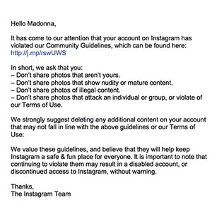 Instagram's note to Madonna (Instagram)