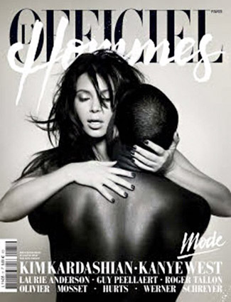 Kim Kardashian and Kanye West (L'Officiel Hommes)