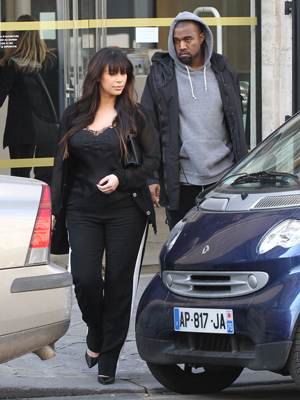 Kim and Kanye in Paris on April 2. (Splash News)