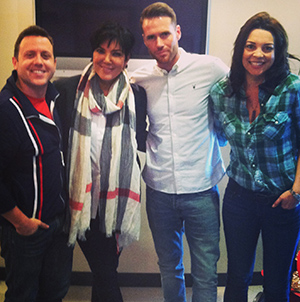 (l - r) Drew Pokorny, Kris Jenner, Oliver Trevena and Heather Ankeny (Dirty Pop with Lance Bass / SiriusXM)