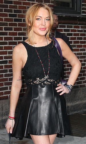 Lindsay leaves Letterman, April 9, 2013 (WireImage)