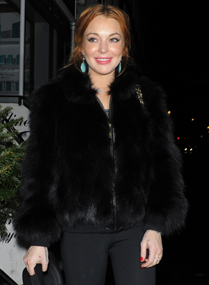 Lindsay Lohan in London on January 2 (Hewitt/Splash News)
