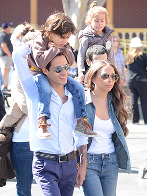 Marc Anthony and Chloe Green with Max and Emme at Disneyland. (Jason Merritt/FilmMagic)