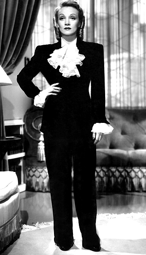 Marlene Dietrich was known for her iconic menswear pieces. (Everett Collection)